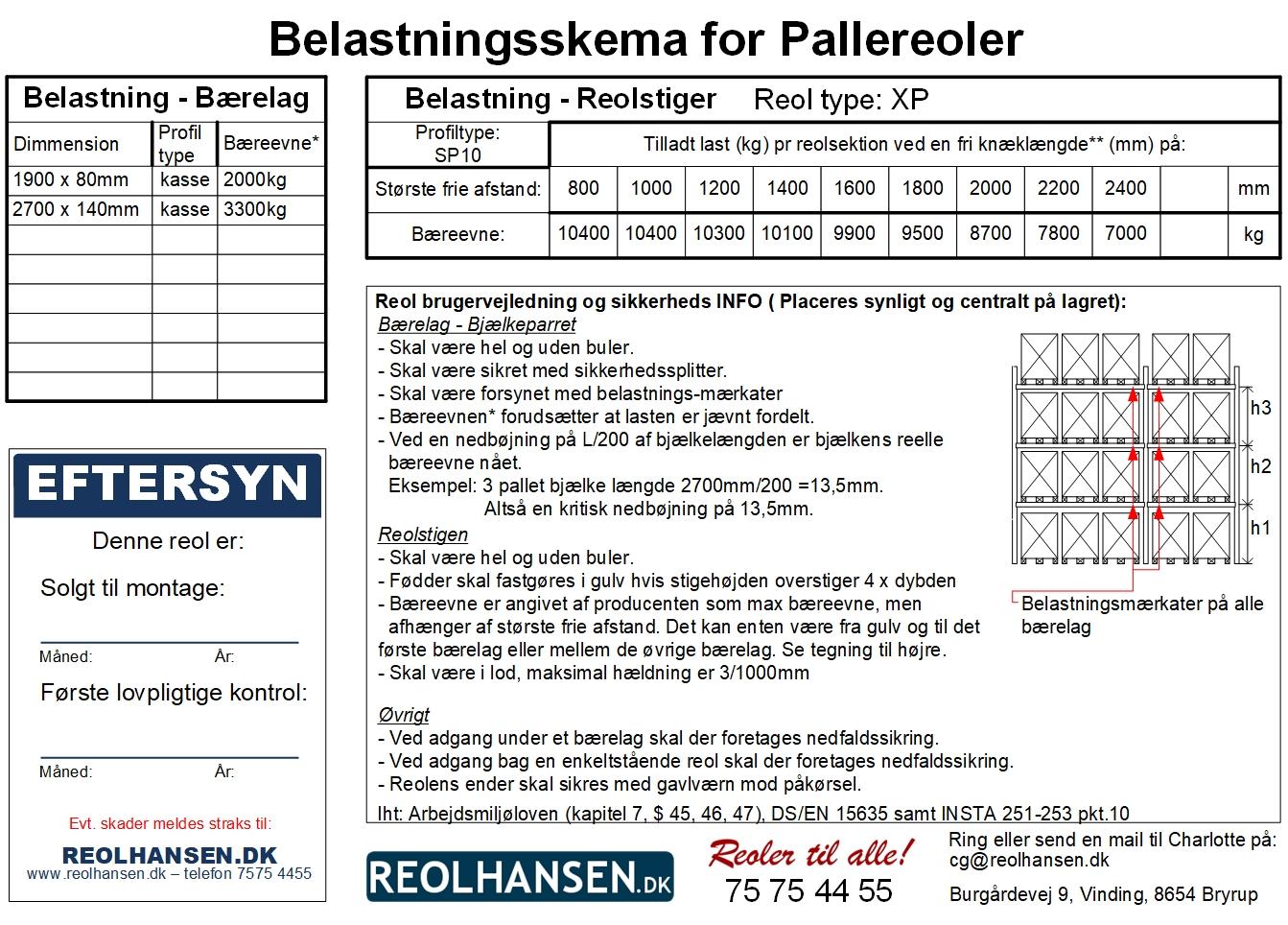 Belastningskema for pallereol model XP