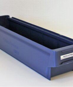 Blå plastkasse 500x115x100mm