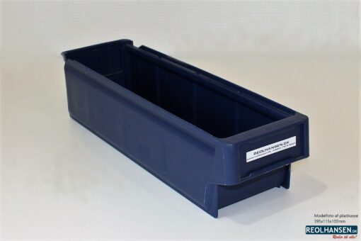 Mørk blå plastkasse 395x115x100mm