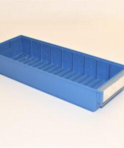 blå plastkasse 490x185x80mm