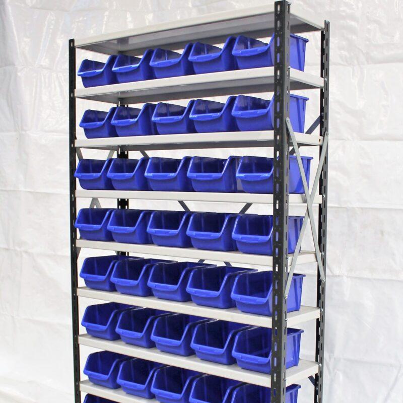 Lagerreol med kasser