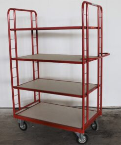 rød rullevogn med 4 hylder - 1700x1060x660mm